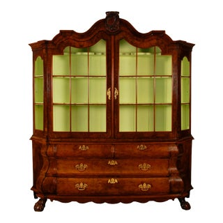 18th Century Louis XV Dutch Bomb China Display Cabinet For Sale