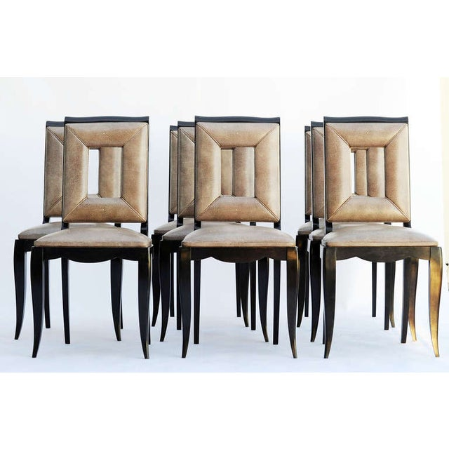 Art Deco Dining Table & 8 Chairs - Style of Leleu - Image 5 of 10