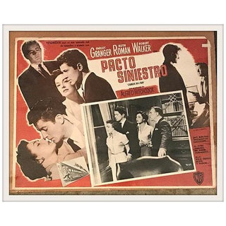 "Vintage Hitchcock's ""Strangers on a Train"" Mexican Lobby Card For Sale"