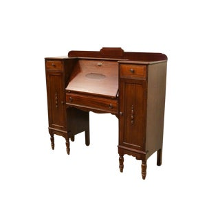 1940's Antique Solid Mahogany Drop Front Secretary Desk W. Storage Cabinets For Sale