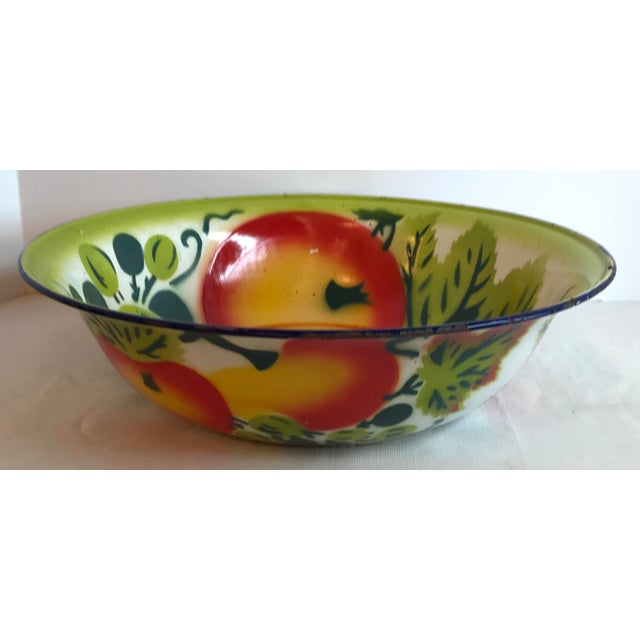 Shabby Chic Vintage Mid Century Enamel Vegetable Bowl For Sale - Image 3 of 7