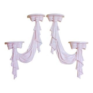 Hollywood Regency Pale Pink Draped Tassel Bow Dorothy Draper Style Decorative Very Large Wall Sconce Shelves- a Pair For Sale