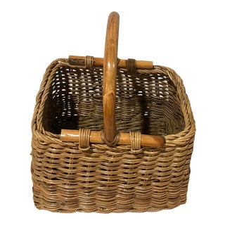 1960s Rattan and Wicker Mid Century Basket With Bentwood Handle For Sale