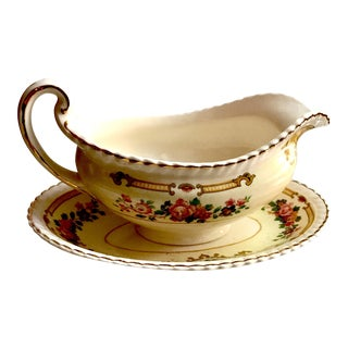 Antique Johnston Brothers Olde English Gravy Boat & Tray For Sale