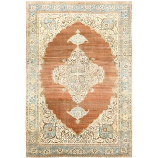 Large Antique Tabriz Persian Cotton and Wool Rug - 12′3″ × 18′9″ For Sale