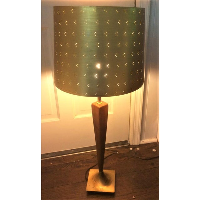 Hollywood Regency Vintage Perforated Gold Lamp Shades - a Pair For Sale - Image 3 of 8