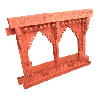 Hand-Carved, Double Opening, Jharokha Wooden Temple Frame, Vintage For Sale