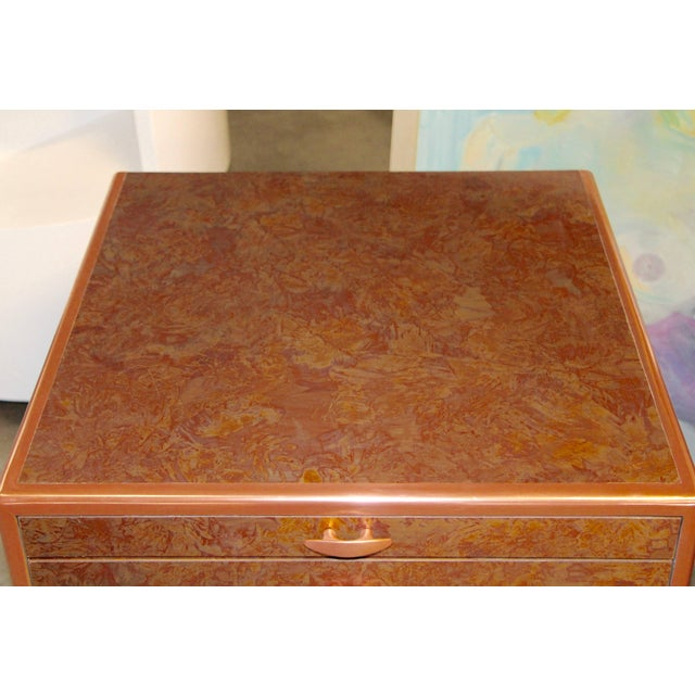 Patinated Copper Sheet Clad Nightstands or Chests - a Pair For Sale - Image 9 of 13