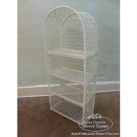 Wood Russell Woodard Vintage White Spun Fiberglass Patio Etagere Bookcase For Sale - Image 7 of 13