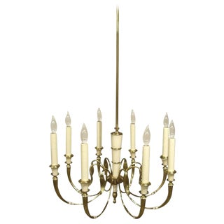 Vintage French Brass Eight-Light Chandelier For Sale