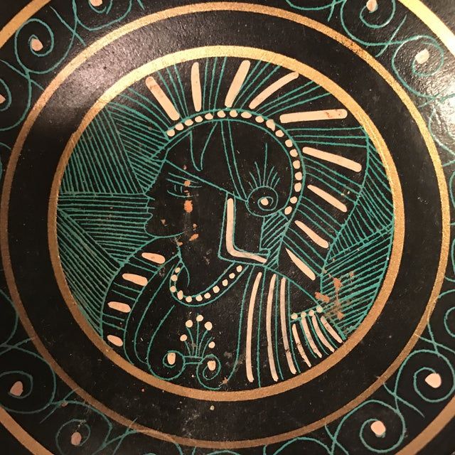 Greek Soldier Decorative Clay Bowl For Sale - Image 5 of 10