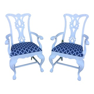 Chinese Chippendale Occasional Arm Chairs - a Pair For Sale