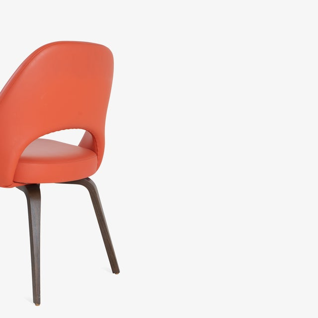 Wood Saarinen Executive Armless Chairs in Burnt Orange Leather and Walnut Legs, Pair For Sale - Image 7 of 8