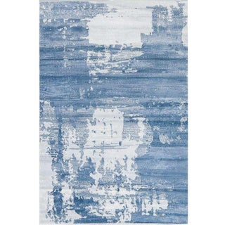 Abstract Blue Rug - 5′3″ × 7′7″