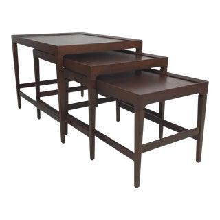 Set of Three Modernist Walnut Nesting Tables For Sale