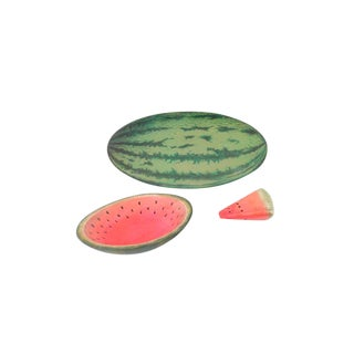 Last Call Vintage Watermelon Trompe l'Oeil Trays - Set of 3