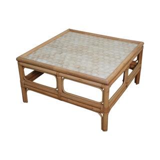 Vintage Rattan Bamboo Capiz Shell Top Coffee Table