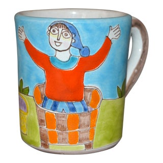Italian Giovanni Desimone Hand Painted Art Pottery Decor Mug, Cup Man in Basket For Sale