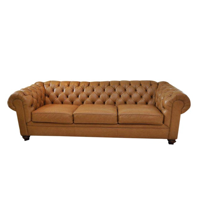 Ethan Allen 3 Seat Chesterfield Style Leather Tufted Sofa For Sale