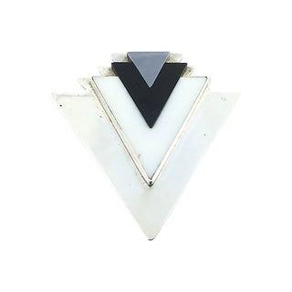 Gemstone & Silver Arrow Brooch For Sale
