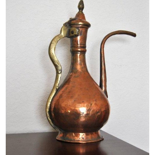 Gold 19th Century Ottoman Persian Islamic Tinned Copper Ewer/Washing Pitcher For Sale - Image 8 of 8