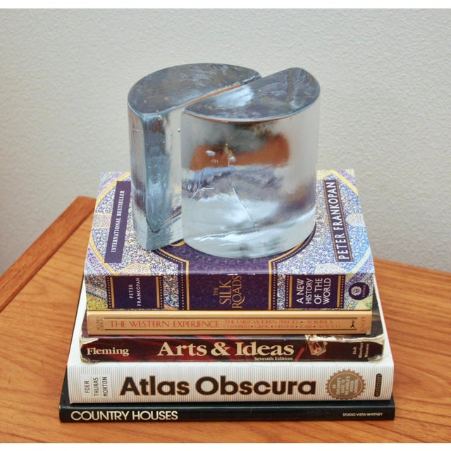 1960s Blenko Clear Half Moon Bookends, a Pair For Sale - Image 5 of 13