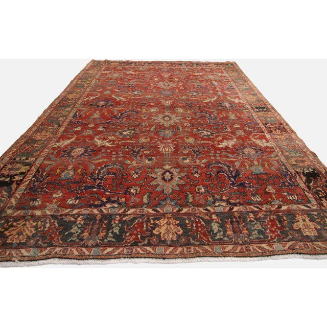 60715 Vintage Persian Tabriz Area Rug with Traditional Colonial and Federal Style. This striking example of a vintage...