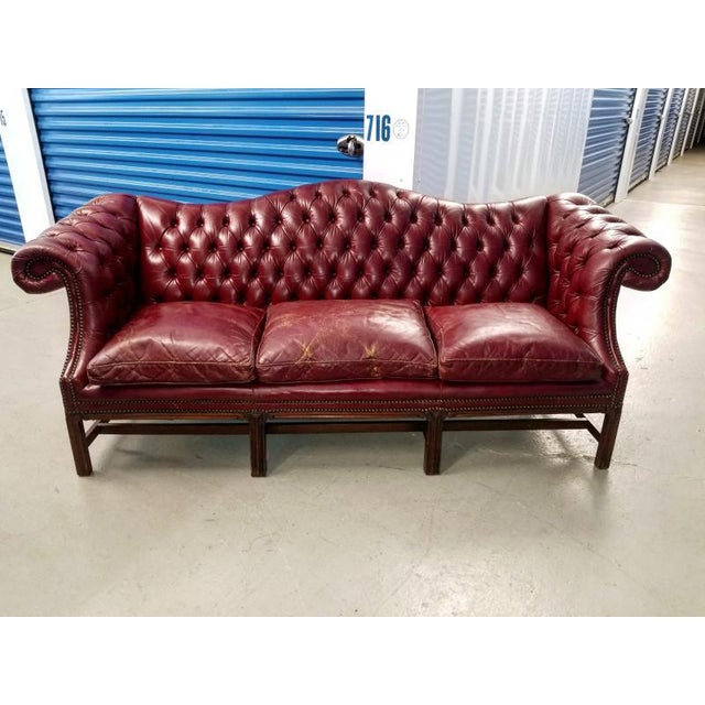 1930s Vintage Blood Red Leather Chesterfield Sofa Chairish