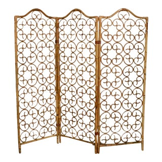 Mid 20th Century Vintage Bamboo Rattan Leather Scroll Room Divider Screen For Sale