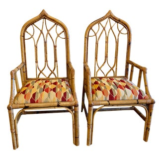 Mid 20th Century American Rattan Gothic Style Side Chairs - a Pair For Sale
