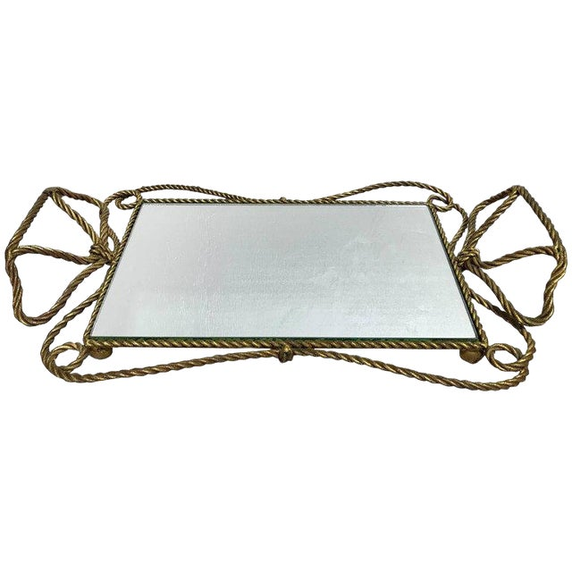 Italian Gilt Rope Motif Plateau or Vanity Tray For Sale