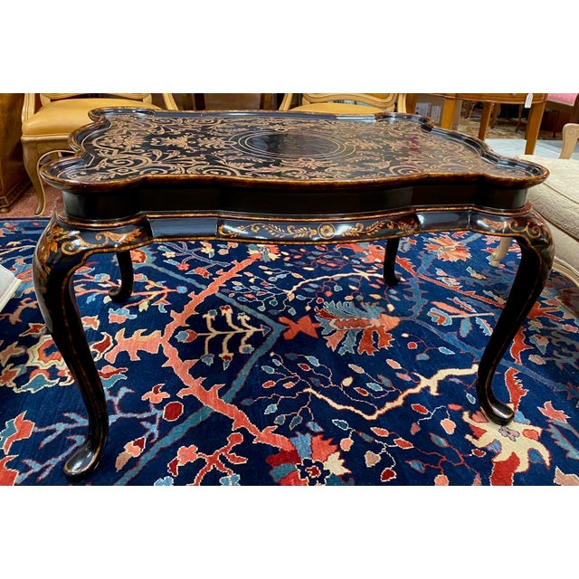 Chinoiserie Hilda Flack Black Lacquer Coffee Table For Sale - Image 3 of 11