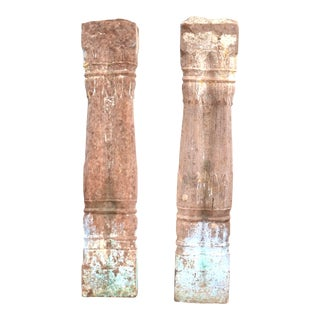 Pair 18th Century Indian Finely Carved Architectural Stone Columns For Sale