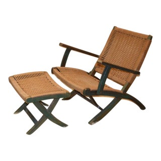 1970s Mid Century Modern Low Slung Folding Rope Chair & Ottoman - 2 Pieces For Sale