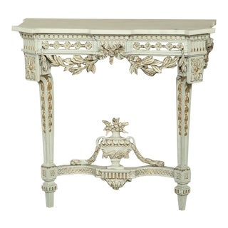 19th Century Swedish Neoclassical Marble-Top Painted Console