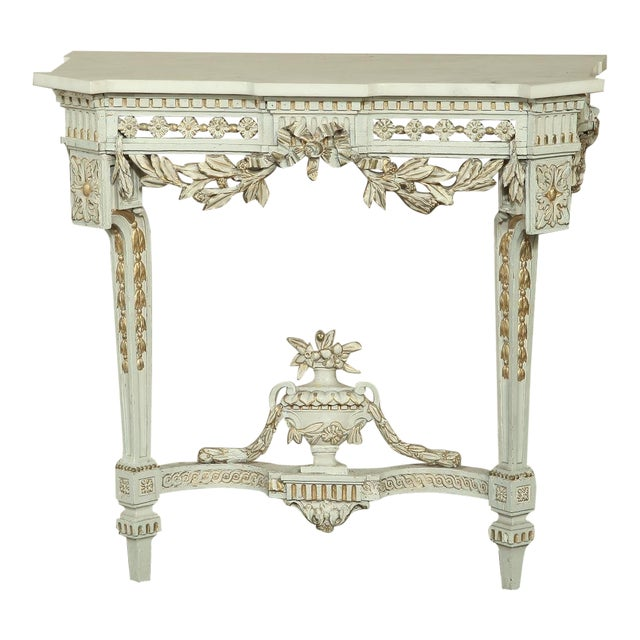 19th Century Swedish Neoclassical Marble-Top Painted Console For Sale