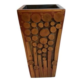 Carved Wood Square Tapered Vase For Sale