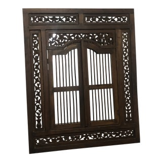 Vintage Hand Carved Wood Indian Wall Mirror For Sale
