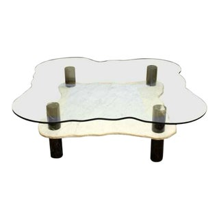 Mid Century Modern Marble & Glass Two Tier Coffee Table by Stone Int. For Sale