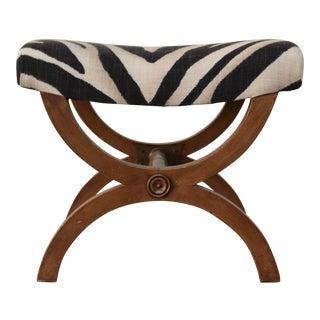 Neoclassical Footstool in Ralph Lauren Zebra Print Fabric For Sale