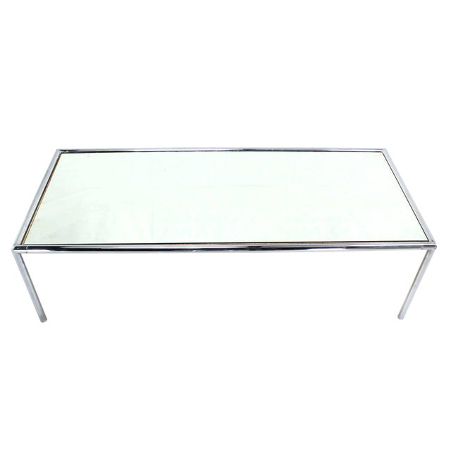 Extra Long Chrome Tubular Design Dining or Conference Table with Mirrored Top For Sale
