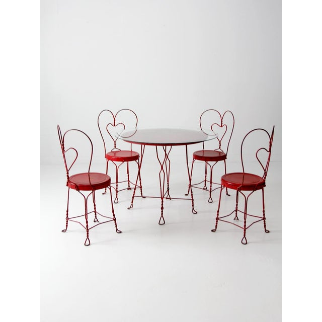 Antique Ice Cream Parlor Table Set For Sale - Image 4 of 11