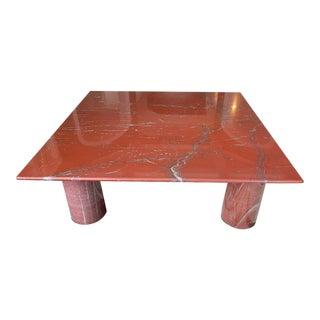 """1970s Mario Bellini for Cassina """"Il Colonnato"""" Red Marble Coffee Table For Sale"""