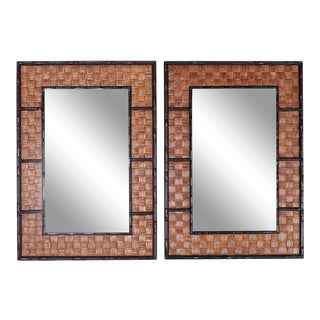Faux Bamboo and Wicker Mirrors - A Pair For Sale