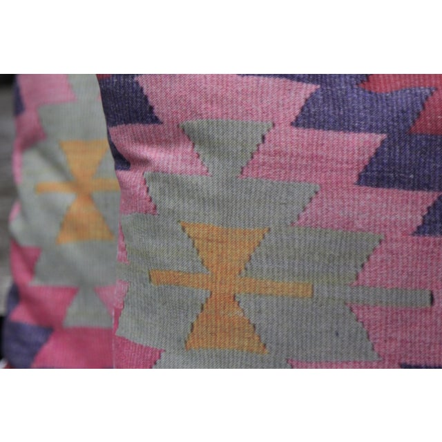 Diamond Pattern Kilim Inspired Print Pillows - a Pair-16'' - Image 4 of 6