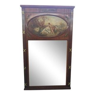 "French Trumeau Mirror Hand Painted 72""x41"" For Sale"