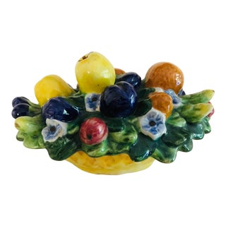 Antique Italian Majolica Fruit Floral Berry Basket