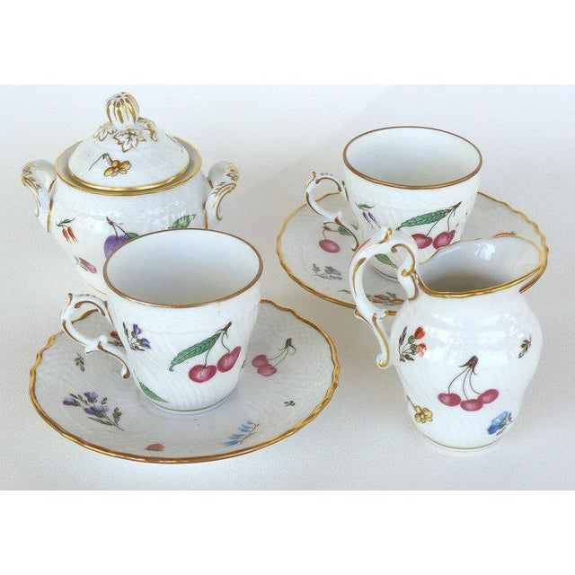 """Ceramic Richard Ginori (Italy) """"Perugia"""" Lidded Sugar Bowl, Creamer, Cups and Saucers For Sale - Image 7 of 7"""