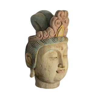 1930s Chinese Guan Yin Wood Head With Muti Color Headdress