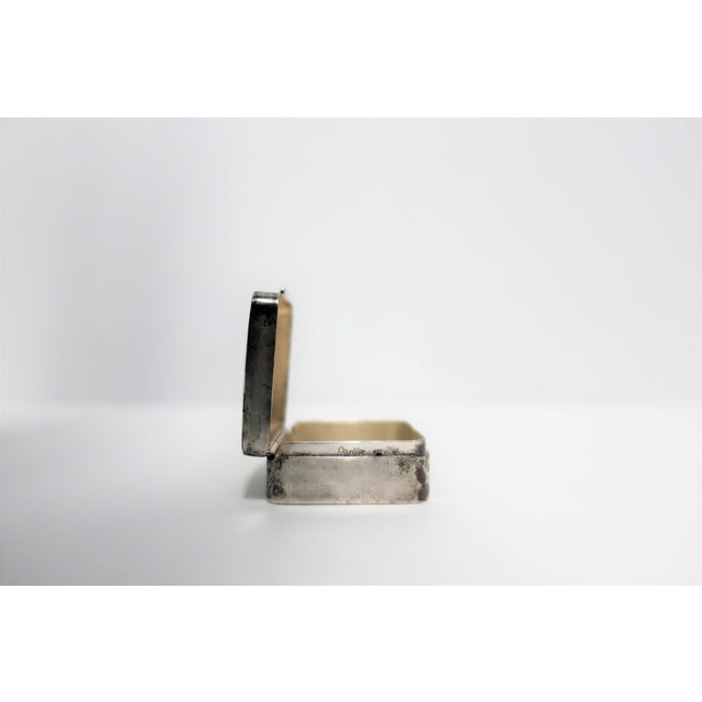 Mid 20th Century Cartier Sterling Silver and Blue Enamel Pill Box For Sale - Image 5 of 8